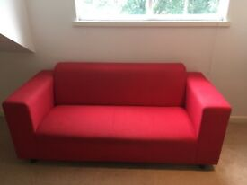 Red ikea sofa