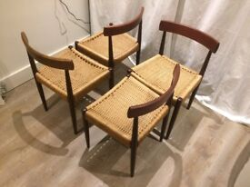 x4 Danish Dining Chairs - Teak And Paper Cord