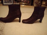 Leather ladies ankle boots size 8, Barratts, never worn, medium heel, deep brown