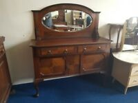 Vintage Mahogany Oval Mirror Back Sideboard