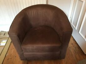 Brown 'tub chair', soft-touch faux suede - EXTREMELY COMFY!