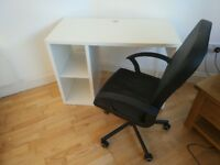 White office desk with black chair in great condition