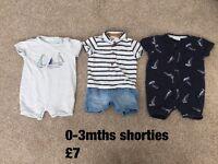 Baby boy shorties 0-3mths