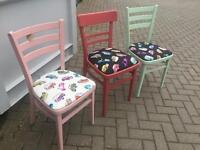 Painted retro bedroom chairs with VW Camper Van Design