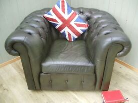 Green Chesterfield Club Chair.