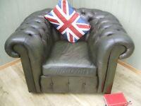 Green Chesterfield Club Chair.