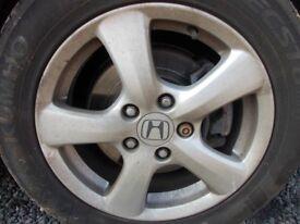 Honda civic MK8 2008 set of 4 alloy wheels R16 & Tires all tires 6mm