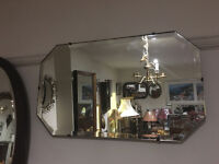 Attractive Vintage 1930s Art Deco Frameless Bevelled Edge Wall Mirror