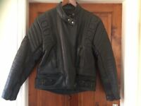 Ladies Motorcycle Black Leather Jacket, size 16 but more like 12/14