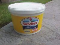 £116 worth 20 litres (2 buckets) of sandtex fine masonary paint magnolia . B&Q price £29 FIVE litres