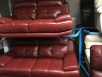 New/Ex Display Red Leather Genoa 3 Seater Sofa + 2 Seater Sofa