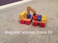 Toy wooden crane