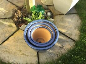 Mediterranean blue plant pots ( new)