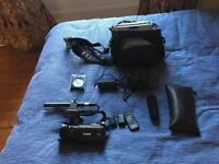 Canon XA10 video camera with Audio Technica AT875r microphone