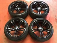 19'' GENUINE BMW M4 437 M ALLOY WHEELS TYRES ALLOYS BLACK M3 5 DOUBLE SPOKE F30 5X120