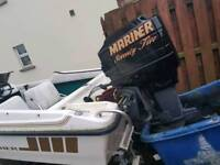 Fletcher boat and trailer with 75hp mariner engine