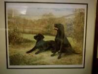 John Baker ltd edition print, black labradors