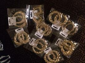 Various gold plated earrings
