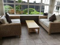 NEXT Sunroom/Conservatory Natural 2 x 2 Seater Rattan Wicker Sofas