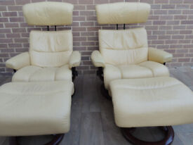 Ekorness Set of 2 Leather Armchairs Stressless + Footstools (UK Safe Delivery)