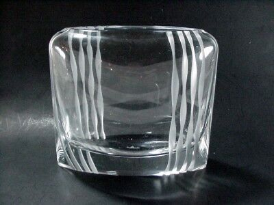ROSENTHAL LEAD POCKET CRYSTAL PILLOW VASE -- SIGNED, CUT AND FROSTED