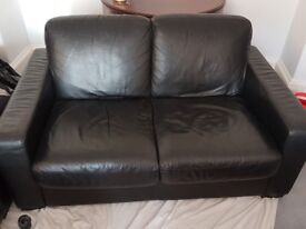 Sofas black leather (3 seater & 2 seater)
