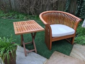 Chair, seat cushion and side table (Indonesian Teak)