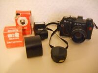 Zenit SLR camera with accesories