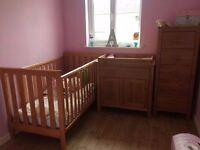 Mothercare Set: Cotbed (new mattress) Tallboy & Changing Unit (+ winnie the pooh accessories) £100