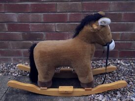 AURORA Soft Plush Fabric Wooden Rocking Horse - Makes Galloping & Neighing Sounds