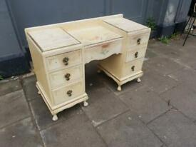 Low Shabby Chic / Art Deco Vintage Distressed Dressing Table / Desk