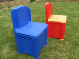 TWO NEW KIDDY LAND PLASTIC CHAIRS WITH BUILT IN STORAGE SPACE