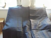 3 pairs of floor-ceiling, lined, black curtains with eyelet top and tie backs