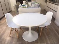 White Round Table and Two Chairs - Excellent Condition