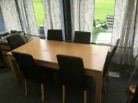 Solid table and 6 chairs