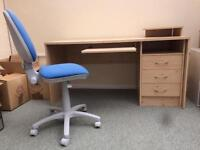 Beech effect office desk with drawers and chair
