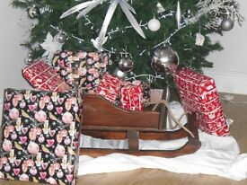 Christmas display wooden sled