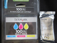 Lexmark 100XL multi colour pack and XL black ink cartridge original and unopened.
