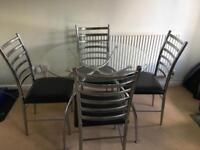 Glass Dining Table with 4 Chairs - Black