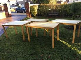 4 wooden tables