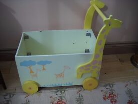 WOODEN TOY BOX.