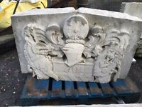Portland stone carved wall/garden feature