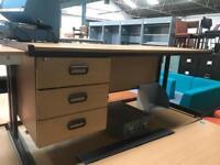 1800mm Straight Oak Veneer Desk with Integrated Draw Unit