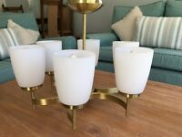 Ceiling Light, Brass with 6 white lamps and candle bulbs