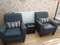 Pair Grey/Blue Matching Chairs. From NEXT