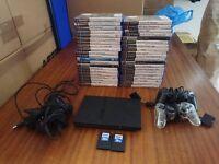 Playstation 2 ps2 Slim Console , 40 Games , 2 16mb cards , 2 pads bundle Joblot