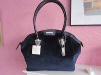 Dents Navy Blue Soft Fabric Handbag