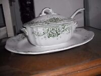 Vintage China serving plate with gravy boat and china spoon 1930's