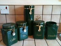 Green plastic coffee, tea, sugar, pasta & utensil storage jars