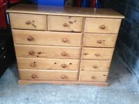 large pine chest of drawers in used condition